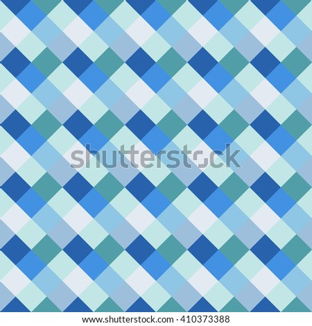 Seamless geometric checked pattern. Diagonal square, woven line background. Rhombus, patchwork texture. Blue, gray, white, sea, soft colored. Vector - stock vector