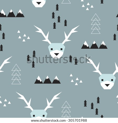 Seamless geometric christmas reindeer theme mountains christmas tree and snow abstract illustration kids background pattern in vector - stock vector
