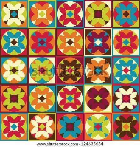 Seamless geometric flower Ethnic pattern background - stock vector