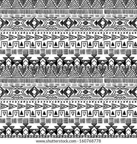 Seamless geometric hand drawn pattern in black and white - stock vector