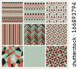 Seamless geometric hipster background set. Patterns Vector - stock vector