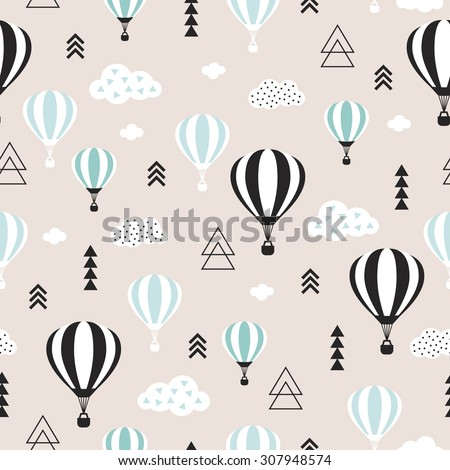 Seamless geometric hot air balloon illustration pastel pink clouds Scandinavian style background pattern in vector blue - stock vector