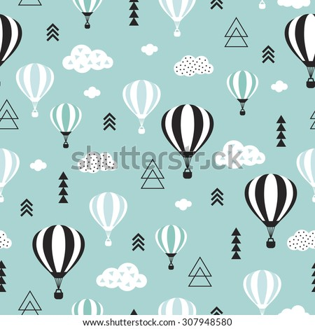 Seamless geometric hot air balloon illustration pastel pink clouds Scandinavian style background pattern in vector blue sky - stock vector