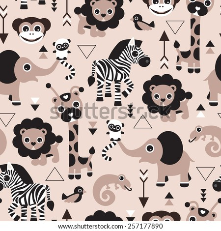 Seamless geometric kids jungle animals lion elephant giraffe zebra lizard and birds gender neutral beige illustration background pattern in vector - stock vector