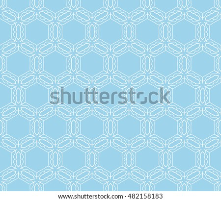 Seamless geometric line pattern. Contemporary graphic design. Endless hexagon texture for wallpaper, banners, invitation cards. Ethnic arabic indian ornament. Monochrome seamless lace background