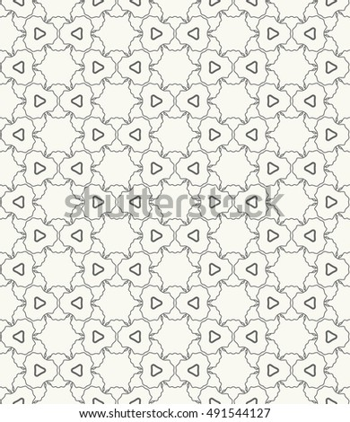Seamless geometric line pattern in arabian style, ethnic ornament. Endless hexagonal texture for wallpaper, banners, invitation cards. Monochrome gray graphic lace background