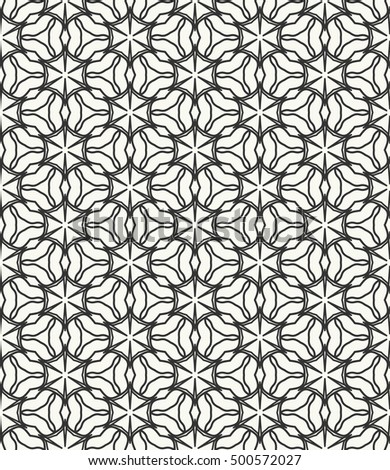 Seamless geometric line pattern in arabian style, ethnic ornament. Endless hexagonal texture for wallpaper, banners, invitation cards. Black and white graphic lace background