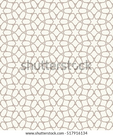 Seamless geometric line pattern in arabian style, ethnic ornament. Endless hexagonal texture for wallpaper, banners, flyers, invitation cards. Monochrome graphic lace background