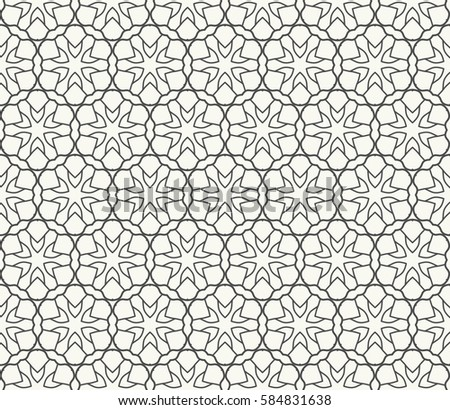 Seamless geometric line pattern. Interlacing linear texture for wallpaper, packaging, banners, invitations, business cards, fabric print. Interweaving black and white graphic sketch background