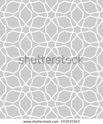 Seamless geometric line pattern. Interlacing linear texture for wallpaper, packaging, banners, invitations, business cards, fabric print. Interweaving gray and white graphic sketch background