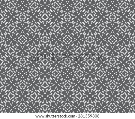 Seamless Geometric Line Pattern of Overlapping Flowers of Eight Petals of Diamond Shape. White Patterns on Gray Background. - stock vector