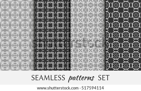 Seamless geometric line patterns set. Contemporary graphic design. Endless lace texture for wallpaper, pattern fill, invitation, card, banner, flyer. Seamless linear backgrounds with ethnic ornament