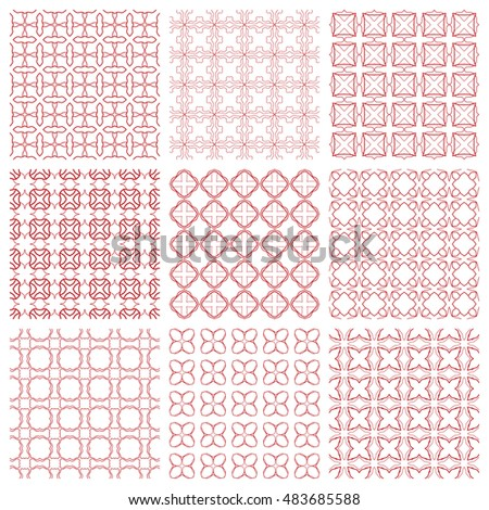 Seamless geometric line patterns set. Contemporary graphic design. Endless texture for wallpaper, pattern fills, web page line backgrounds. Monochrome geometric ornaments.