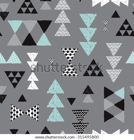 Seamless geometric mint pastel blue black gray and white tribal triangle arrow hand drawn pastel background pattern in vector - stock vector