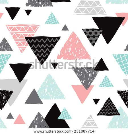 Seamless geometric mint tribal triangle hand drawn pastel background pattern in vector - stock vector