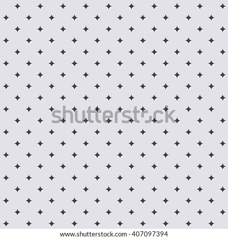 Seamless geometric modern vector pattern of stars. Grey ornament with dotted elements