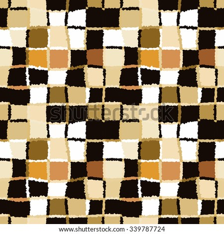 Seamless geometric mosaic checked pattern. Background of woven rectangles and squares. Patchwork, ceramic, tile texture. Cold, pastel, motley, gray, rose, blue, vinous colors. Winter theme. Vector - stock vector