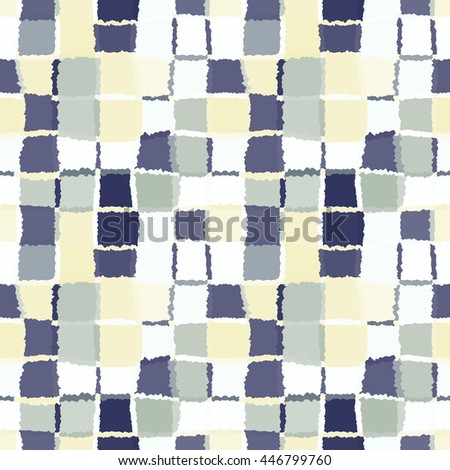 Seamless geometric mosaic checked pattern. Background of woven rectangles and squares. Patchwork, ceramic, tile texture. Gray, beige, blue colors. Vector - stock vector