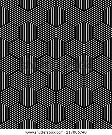 Seamless geometric op art pattern. Vector art. - stock vector