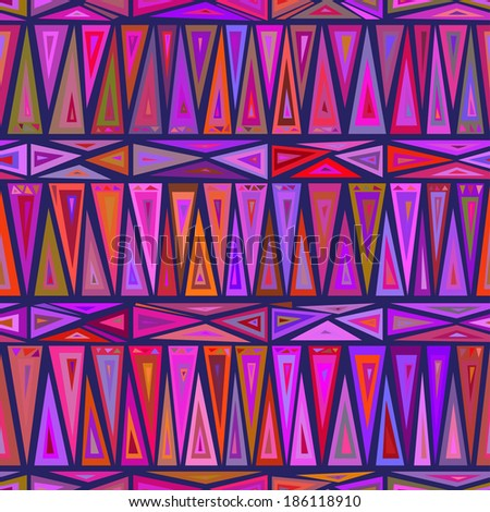 """Seamless geometric pattern """"African motifs."""" Multicolor pattern of triangles and rhombuses. Vector.  - stock vector"""
