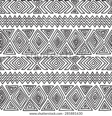 Seamless geometric pattern. Black and white graphics, diamonds, triangles and zigzags on a white background, ethnic, folk motives - stock vector