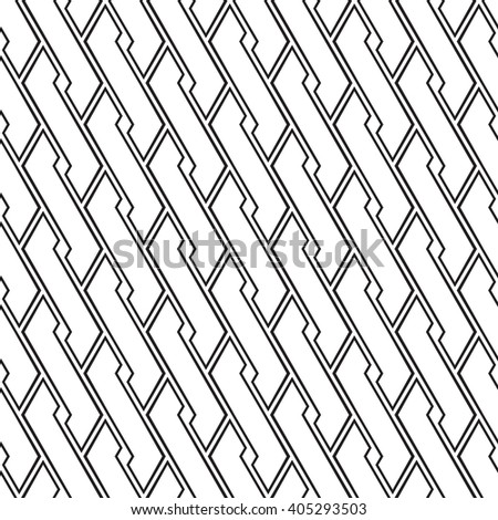 Seamless geometric pattern, black and white vector textured background