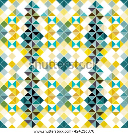 Seamless geometric pattern colorful background of small pixels - stock vector