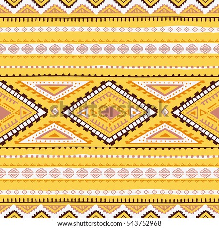 Seamless geometric pattern. Ethnic and tribal motifs. Print for textiles. Yellow, brown and white colors. Vector illustration.