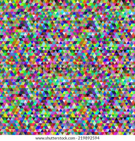 Seamless geometric pattern funny colored triangles.  Abstract ornamental pattern of triangles, mosaic.  - stock vector