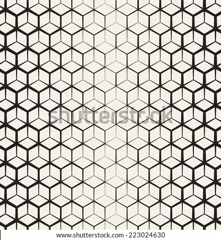 Seamless geometric pattern. Geometric simple print. Vector grid texture with thickness which decreases gradually - stock vector