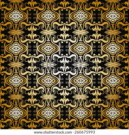 Seamless geometric pattern. Gold and black background. Vector repeating texture with hand drawn ornament. Stylish geometric background.
