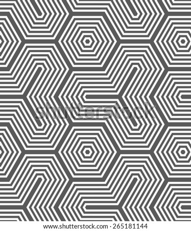 Seamless geometric pattern. Gray abstract geometrical design. Flat monochrome design.Monochrome hexagons and tetrapods.