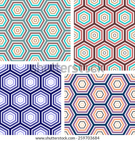Seamless geometric pattern. Hexagons color texture. Vector art. - stock vector