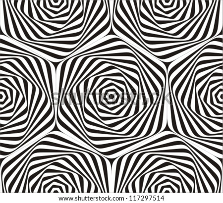 Seamless geometric pattern in black and white. - stock vector
