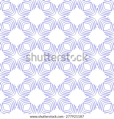 Seamless geometric pattern in blue and white. Can be repeated on any shape.