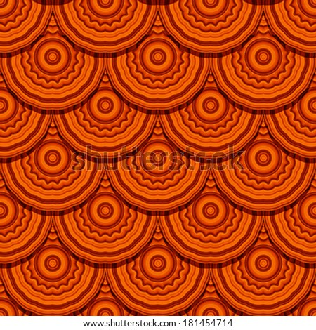 """Seamless geometric pattern in """"fish scale"""" .Drapery design with round decorative ornament in orange tones. Easy to edit patten. - stock vector"""