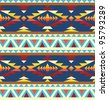 Seamless geometric pattern in native american style - stock vector