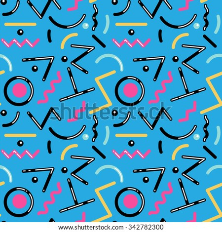 Seamless geometric pattern in retro 80s style