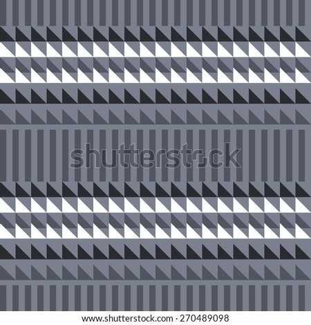 Seamless geometric pattern of stripes and triangles. - stock vector