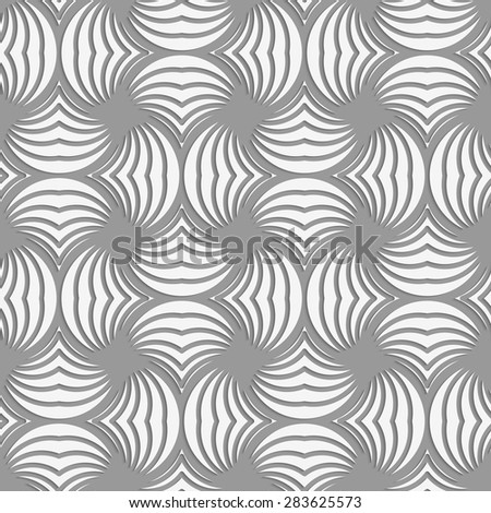 Seamless geometric pattern .Realistic shadow creates 3D look. Light gray colors.Cut out paper effect.Perforated twisted striped circle pin will.