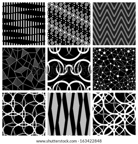 Seamless Geometric Pattern Set - stock vector
