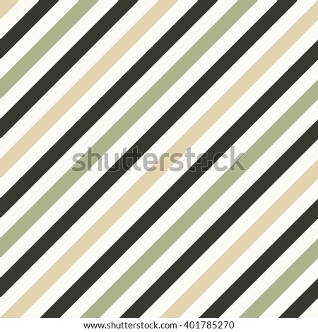 Seamless geometric pattern. Stripy texture for neck tie. Diagonal contrast strips on background. Olive, beige, cream soft colors. Vector - stock vector