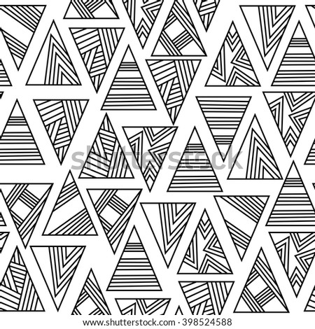seamless geometric pattern. triangles with black lines on a white background. vector illustration - stock vector