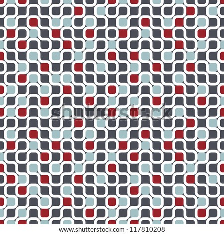 Seamless geometric pattern. Vector texture with maze and chaotic colorful dots - stock vector