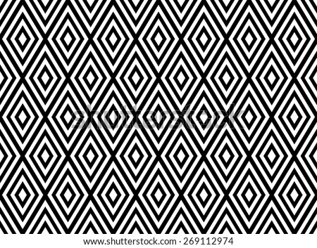 Seamless geometric pattern with black and white rhombuses