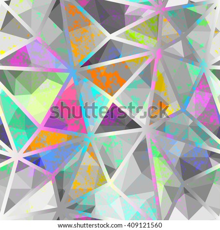 Seamless geometric pattern with colorful elements, vector background. - stock vector
