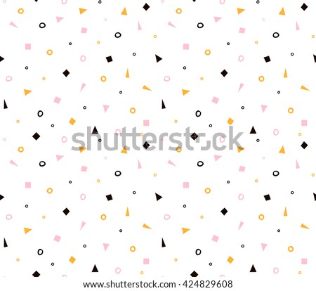 Seamless geometric pattern with colorful elements, vector background. Simple universal design. - stock vector