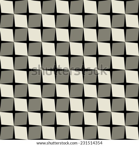 Seamless geometric pattern with cubic elements, grid of skew squares. Abstract vector background - stock vector