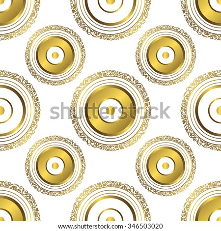 Seamless geometric pattern with gold circles and rings, vector EPS 10 - stock vector