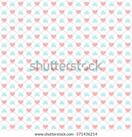 Seamless geometric pattern with hearts - stock vector